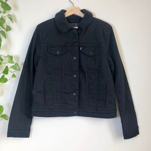NWT Levi's Sherpa Denim Trucker Jacket Black Large